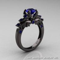 Classic 14K Black Gold 1.0 Carat Dark Blue Sapphire Solitaire Engagement Ring R482-14KBGBS-1
