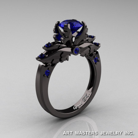 Classic 14K Black Gold 1.0 Carat Dark Blue Sapphire Solitaire Engagement Ring R482-14KBGBS-1