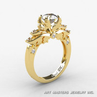 Classic Angel 14K Yellow Gold 1.0 Ct CZ Diamond Solitaire Engagement Ring R482-14KYGDCZ-1