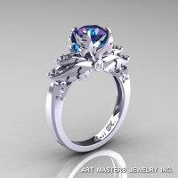 Classic Angel 14K White Gold 1.0 Ct Chrysoberyl Alexandrite Diamond Solitaire Engagement Ring R482-14KWGDAL-1