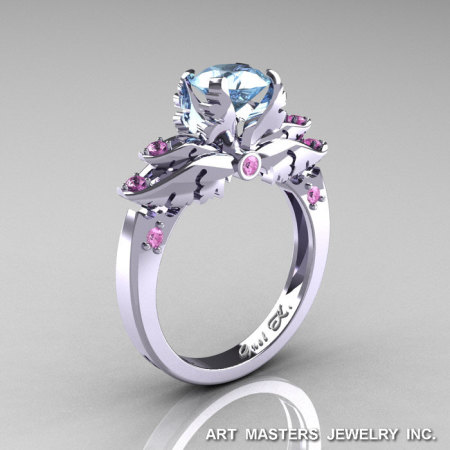 Classic Angel 14K White Gold 1.0 Ct Aquamarine Light Pink Sapphire Solitaire Engagement Ring R482-14KWGLPSAQ-1