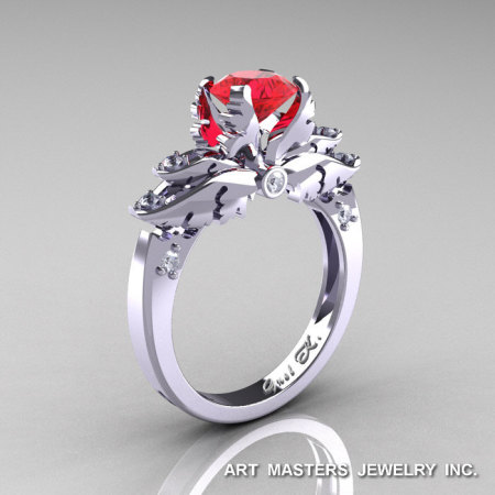 Classic Angel 14K White Gold 1.0 Ct Ruby Diamond Solitaire Engagement Ring R482-14KWGDR-1
