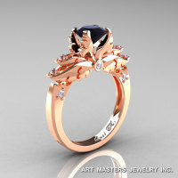 Classic 14K Rose Gold 1.0 Ct Black and White Diamond Solitaire Engagement Ring R482-14KRGDBD-1
