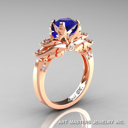 Classic Angel 14K Rose Gold 1.0 Ct Blue Sapphire Diamond Solitaire Engagement Ring R482-14KRGDBS-1