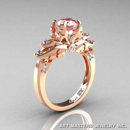 Classic Angel 14K Rose Gold 1.0 Ct Morganite Diamond Solitaire Engagement Ring R482-14KRGDMO-1