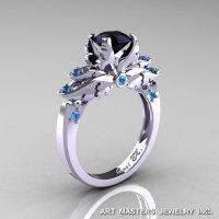Classic Blazer 14K White Gold 1.0 Ct Black Diamond Blue Topaz Solitaire Engagement Ring R482-14KWGBTBD-1