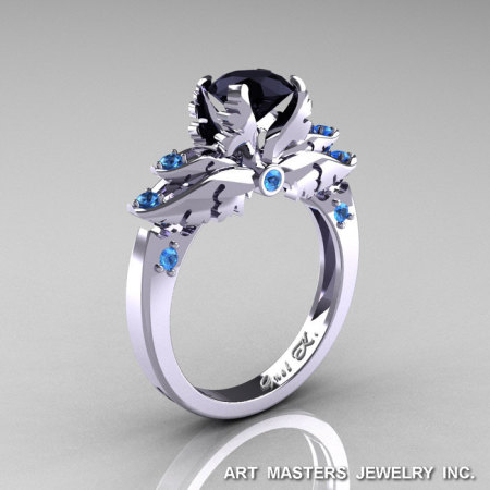 Classic Blazer 14K White Gold 1.0 Ct Black Diamond Blue Topaz Solitaire Engagement Ring R482-14KWGBTBD-1