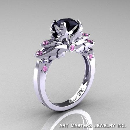 Classic Blazer 14K White Gold 1.0 Ct Black Diamond Light Pink Sapphire Solitaire Engagement Ring R482-14KWGLPSBD-1