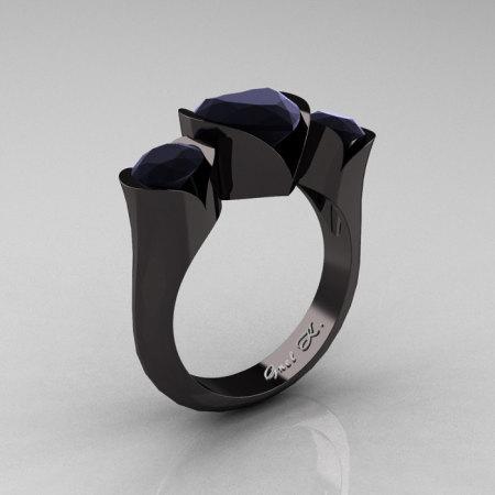 Nature Classic 14K Black Gold 2.0 Ct Heart Black Diamond Three Stone Floral Engagement Ring Wedding Ring R434-14KBGBD-1