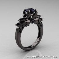 Classic 14K Black Gold 1.0 Carat Black Diamond Solitaire Engagement Ring R482-14KBGBD-1