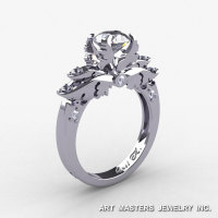 Classic Angel 14K White Gold 1.0 Ct CZ Diamond Solitaire Engagement Ring R482-14KWGDCZ-1