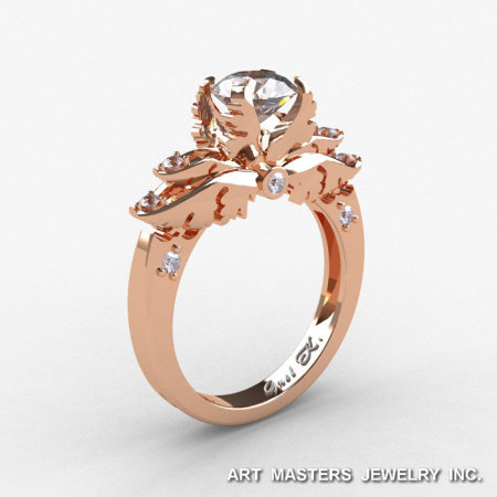 Classic Angel 10K Rose Gold 1.0 Ct CZ Diamond Solitaire Engagement Ring R482-14KRGDCZ-1