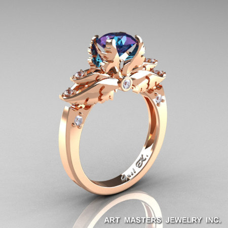 Classic Angel 14K Rose Gold 1.0 Ct Chrysoberyl Alexandrite Diamond Solitaire Engagement Ring R482-14KRGDAL-1