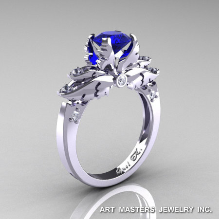 Classic 14K White Gold 1.0 Ct Blue Sapphire Diamond Solitaire Engagement Ring R482-14KWGDBS-1