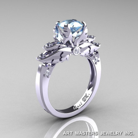 Classic 14K White Gold 1.0 Ct Aquamarine Diamond Solitaire Engagement Ring R482-14KWGDAQ-1