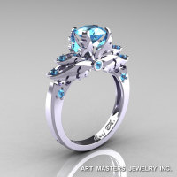 Classic 14K White Gold 1.0 Ct Blue Topaz Solitaire Engagement Ring R482-14KWGBT-1