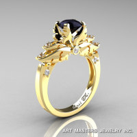 Classic 14K Yellow Gold 1.0 Ct Black and White Diamond Solitaire Engagement Ring R482-14KYGDBD-1