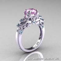 Classic Angel 14K White Gold 1.0 Ct Light Pink Sapphire Aquamarine Solitaire Engagement Ring R482-14KWGAQLPS-1