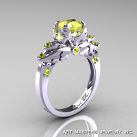 Classic Angel 14K White Gold 1.0 Ct Yellow Sapphire Solitaire Engagement Ring R482-14KWGYS-1