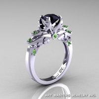 Classic Blazer 14K White Gold 1.0 Ct Black Diamond Green Topaz Solitaire Engagement Ring R482-14KWGGTBD-1