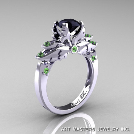 Classic Blazer 14K White Gold 1.0 Ct Black Diamond Green Topaz Solitaire Engagement Ring R482-14KWGGTBD-1