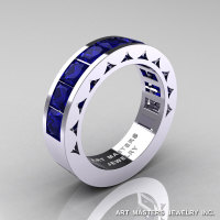 Mens Modern 14K White Gold Princess Blue Sapphire Channel Cluster Sun Wedding Ring R274-14WGBS-1