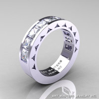 Mens Modern 950 Platinum Princess Russian CZ Channel Cluster Sun Wedding Ring R274-PLATCZ-1