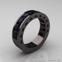 Mens Modern 14K Black Gold Princess Black Diamond Channel Cluster Sun Wedding Ring R274-14BGBD-1