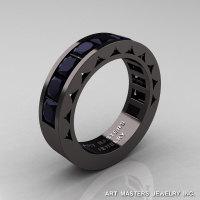Mens Modern 14K Black Gold Princess Black Diamond Channel Cluster Sun Wedding Ring R274-14BGBD-1