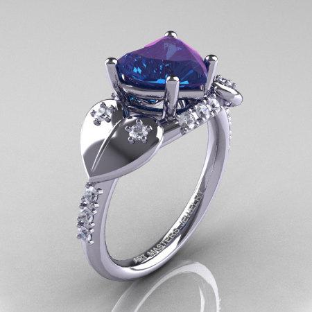 Classic Hearts 14K White Gold 2.0 Ct Chrysoberyl Alexandrite Diamond Engagement Ring Y445-14KWGDAL-1