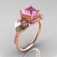 Classic Hearts 14K Rose Gold 2.0 Ct Light Pink Sapphire Engagement Ring Y445-14KRGLPS-1