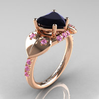 Classic Hearts 14K Rose Gold 2.0 Ct Black Diamond Light Pink Sapphire Engagement Ring Y445-14KRGLPSBD-1