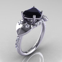 Classic Hearts 14K White Gold 2.0 Ct Black and White Diamond Engagement Ring Y445-14KWGDBD-1
