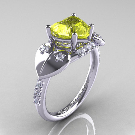 Classic Hearts 14K White Gold 2.0 Ct Yellow Sapphire Diamond Engagement Ring Y445-14KWGDYS-1