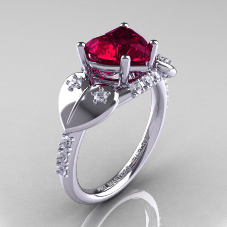Classic Hearts 14K White Gold 2.0 Ct Red Garnet Diamond Engagement Ring Y445-14KWGDG-1