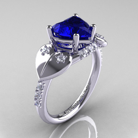 Classic Hearts 14K White Gold 2.0 Ct Blue Sapphire Diamond Engagement Ring Y445-14KWGDBS-1