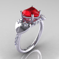 Classic Hearts 14K White Gold 2.0 Ct Ruby Diamond Engagement Ring Y445-14KWGDR-1