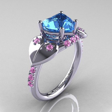 Classic Hearts 14K White Gold 2.0 Ct Blue Topaz Light Pink Sapphire Engagement Ring Y445-14KRGLPSBT-1