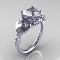 Classic Hearts 14K White Gold 2.0 Ct White Sapphire Diamond Engagement Ring Y445-14KWGDWS-1