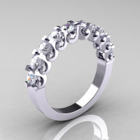 Modern Vintage 18K White White Sapphire Designer Wedding Band R172-4-142-18KWGWS-1