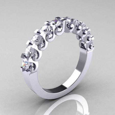 Modern Vintage 14K White Gold White Sapphire Designer Wedding Band R172-4-142-14KWGWS-1
