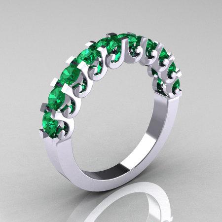 Modern Vintage 14K White Gold Emerald Designer Wedding Band R172-4-142-14KWGEM-1