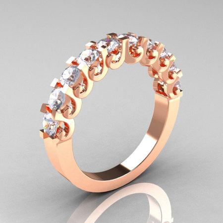 Modern Vintage 14K Rose Gold White Sapphire Designer Wedding Band R172-4-142-14KRGWS-1