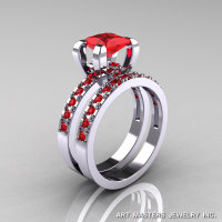 Classic French 14K White Gold 1.0 Ct Princess Rubies Engagement Wedding Ring Bridal Set AR125S-14WGR-1