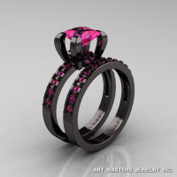 Modern French 14K Black Gold 1.0 Carat Princess Pink Sapphire Engagement Ring Weding Band Bridal Set AR125S-14KBGPS-1