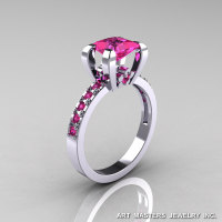 Classic French 14K White Gold 1.0 Ct Princess Pink Sapphire Engagement Ring AR125-14KWGPS-1