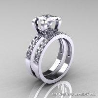Classic French 14K White Gold 1.0 Ct Princess White Sapphire Diamond Engagement Wedding Ring Bridal Set AR125S-14WGDWS-1