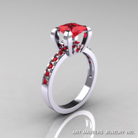 Classic French 14K White Gold 1.0 Ct Princess Rubies Engagement Ring AR125-14KWGR-1