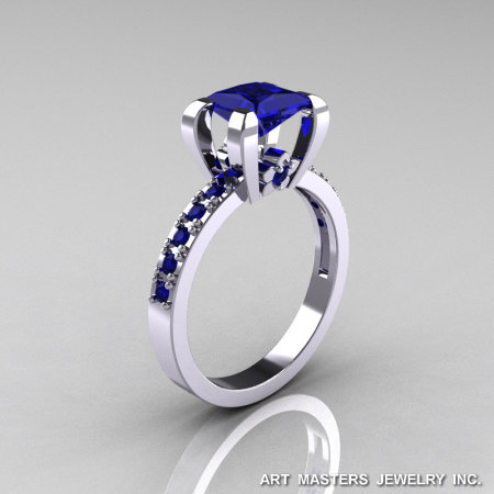 Classic French 14K White Gold 1.0 Ct Princess Blue Sapphire Engagement Ring AR125-14KWGBS-1