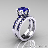 Classic French 14K White Gold 1.0 Ct Princess Blue Sapphire Engagement Wedding Ring Bridal Set AR125S-14WGBS-1